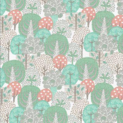 Witte stof met mint groene en zalm kleurige bomen