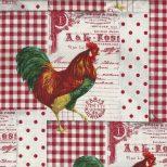 Roomwit en rode ruitstof met hanen
