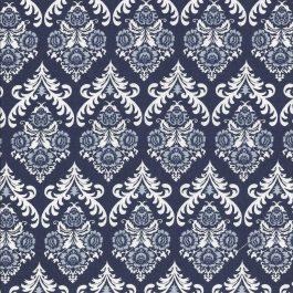Donker blauwe stof met grafisch bloem patroon-Stella