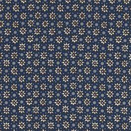 Donker blauwe stof met grafisch bloemmotief-Stella