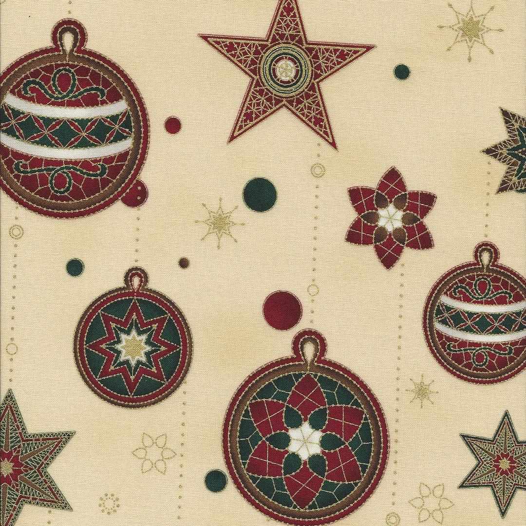 Beige stof met rode en groene ballen en sterren