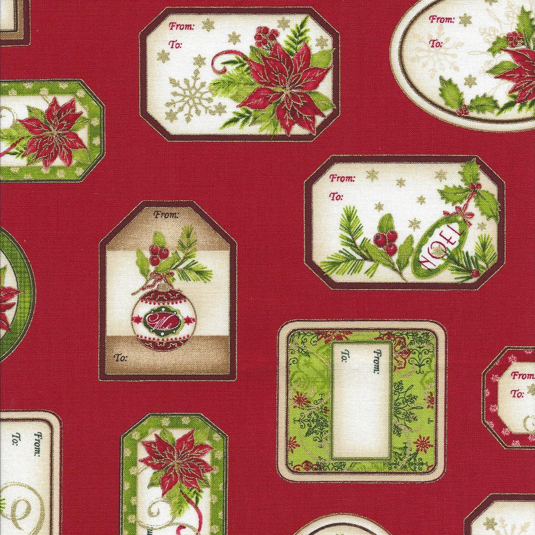 Rode stof met Kerstlabels