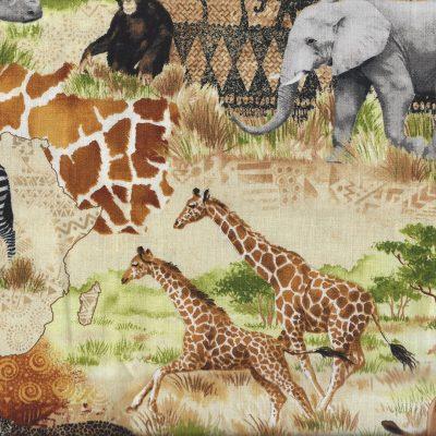 Stof met afbeeldingen van wilde dieren