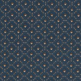 Donker  blauwe stof met grafisch bloemmotiefje-Windham