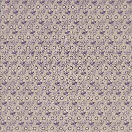 Creme kleurige stof met paarse motieven-Windham