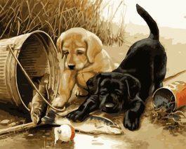Diamond Painting Labrador Puppies 40x50cm vierkante steentjes
