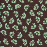 Bruine quiltstof groene blaadjes