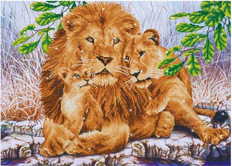 Diamond Dotz Lion Family Design Size 77 x 55cm