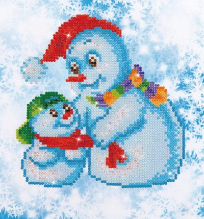 Diamond Dotz Snow Family design size 23 x 25 cm