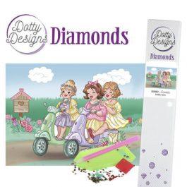 Diamond Painting 3 Dames op Scooter 25x25 ronde steentjes.