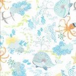 Witte Flanel stof met lieve zeefiguurtjes