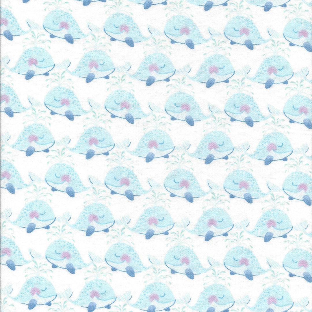 Witte Flanel stof met lieve dolfijntjes