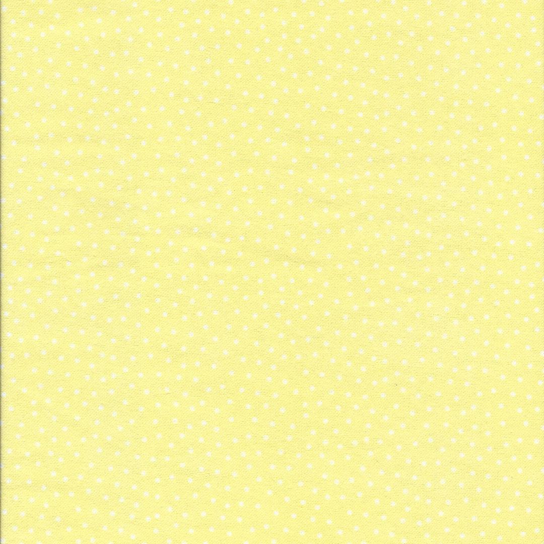 Gele Flanel stof met witte stipjes