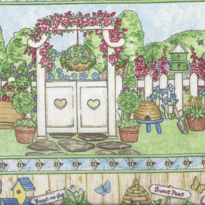 Quilt randstof met tuinafbeeldingen