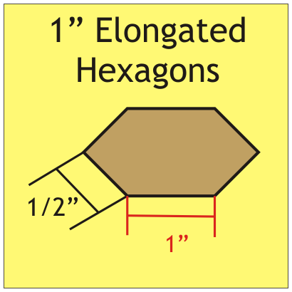 "Elongated Hexagons 1"" EHEX100"