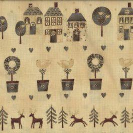Creme kleurige rand quiltstof met huisjes afbeeldingen ( Panel)