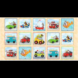 Panel met gekleurde voertuigen(kinder)- Elisabeth's Studio