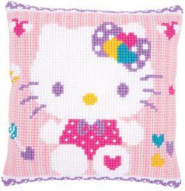 Kruissteekkussen Hello Kitty roze