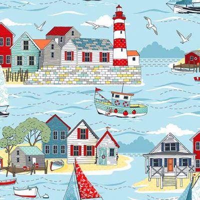 Licht Blauwe stof met bootjes en strandhuisjes