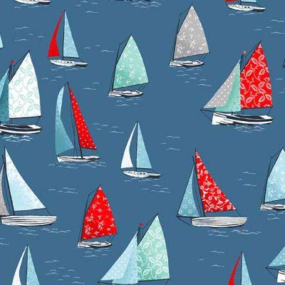 Petrol blauwe stof met zeilbootjes