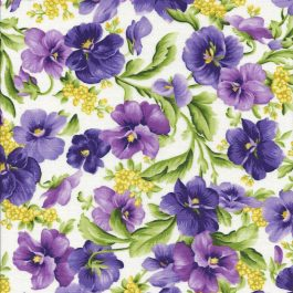 Roomwitte stof met lila en paarse violen-Maywood