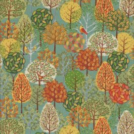 Licht groene stof met bomen in herfst kleuren-Makower