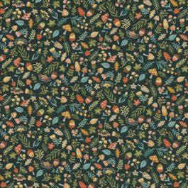 Donker groene stof met herfstmotiefjes- Makower
