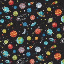 Zwarte stof met gekleurde planeten-Makower