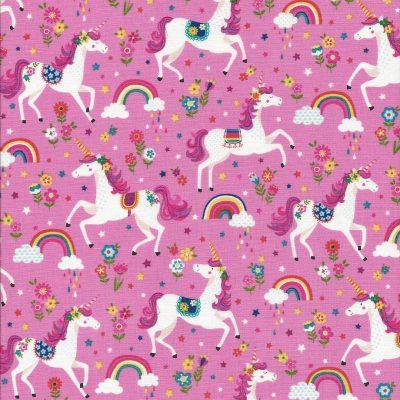 Roze stof met eenhoorns-Makower