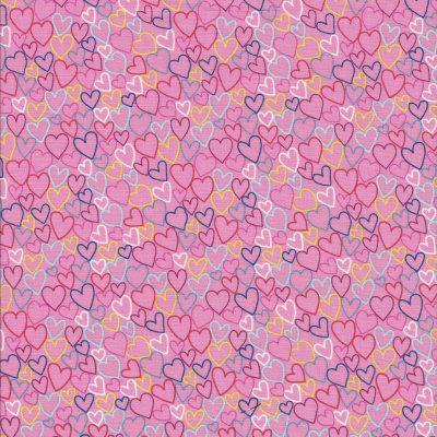 Roze stof met gekleurde open hartjes-Makower