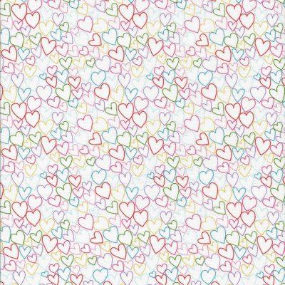 Witte stof met gekleurde open hartjes-Makower