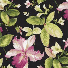 Zwarte stof met grote bloemen en bladeren-Northcott