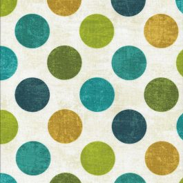 Ecru kleurige stof met oker,aqua,blauw en groene stippen-Northcott