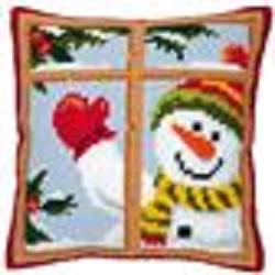 Kruissteekkussen Sneeuwpop achter het raam