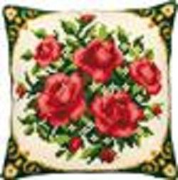 Kruissteekkussen met rozen
