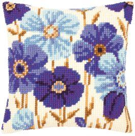 Kruissteekkussen Kit Blauwe Anemonen