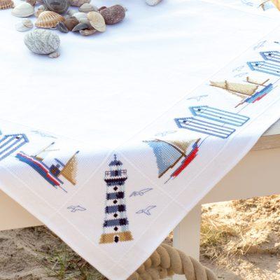 Borduurpakket Tafelkleedje Maritiem aan Zee