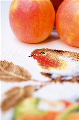 Borduurpakket Tafelloper Roodborstje met appelen