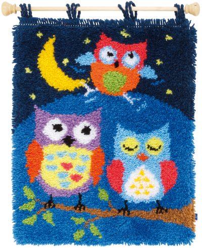Knoop (wand) tapijt Uiltjes in de nacht
