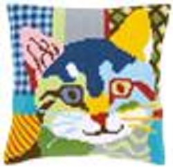 Kruissteekkussen met kleurijke kat