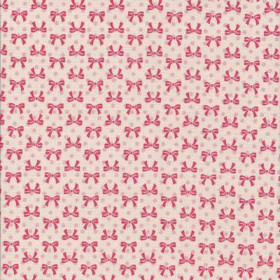 Zalmroze stof met rode strikjes en licht roze stippen-Poppy Coton