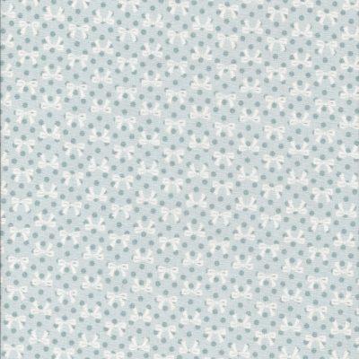 Licht blauwe stof met witte strikjes en grijsblauwe stippen-Poppy Cotton