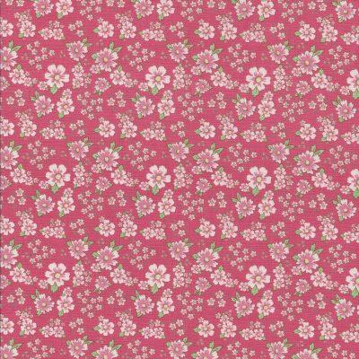 Roze stof met lichtroze bloemetjes-Poppy Cotton