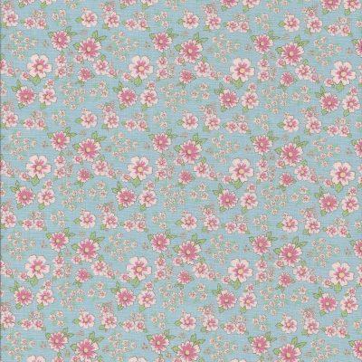 Licht blauwe stof met roze bloemetjes-Poppy Cotton