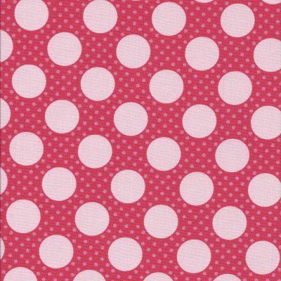Roze rode stof met grote witte stippen-Poppy Cotton