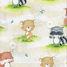 Panel lichtblauw met bosdieren print-Studio E