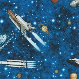 Blauwe stof met Raket afbeeldingen-Quilting Treasures