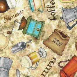 Creme kleurige stof met Koffiepotten-Quilting Treasures