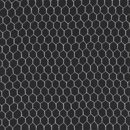 Zwarte stof met wit gaasmotief-Quilting Treasures