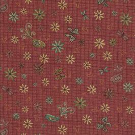 Koper kleurige stof met bloemen,vogeltjes en vlindertjes-Red Rooster
